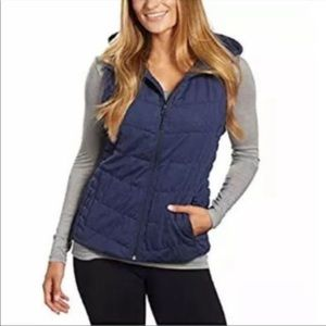 Blanc Noir Quilted Hooded Vest Navy Size Medium